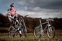 Steve Peat with his 2013 Santa Cruz V10 downhill bike and his 1993 Kona Hei Hei Mountain bike .  Wharncliffe , Sheffield .  April   2013.    pic copyright Steve Behr / Stockfile