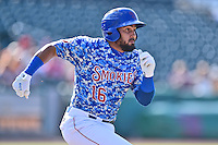 Tennessee Smokies shortstop Ryan Dent (16) runs to first during a game against the Birmingham Barons on August 2, 2015 in Kodak, Tennessee. The Smokies defeated the Barons 5-2. (Tony Farlow/Four Seam Images)
