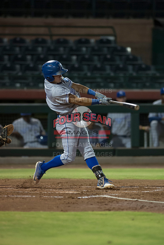 AZL Royals second baseman Kember Nacero (2) at bat during an Arizona League game against the AZL Giants Black at Scottsdale Stadium on August 7, 2018 in Scottsdale, Arizona. The AZL Giants Black defeated the AZL Royals by a score of 2-1. (Zachary Lucy/Four Seam Images)