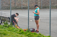 Tennis players during the Coronavirus pandemic at Sidcup, Kent, England on 2 April 2020. Photo by Alan Stanford.