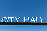 Silver City Hall sign on background of blue sky.