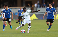SAN JOSE, CA - MAY 15: Yimmi Chará #23 of the Portland Timbers FC passes off the ball during a game between Portland Timbers and San Jose Earthquakes at PayPal Park on May 15, 2021 in San Jose, California.