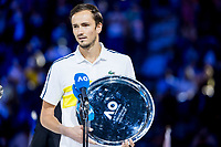 21st February 2021, Melbourne, Victoria, Australia; Daniil Medvedev of Russia holds his runners up trophy for the Men's Singles Final of the 2021 Australian Open on February 21 2021, at Melbourne Park in Melbourne, Australia.
