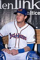 Midland RockHounds catcher Jonah Heim (13) poses for a photo before a Texas League game against the Tulsa Drillers at Security Bank Ballpark on April 24, 2019 in Midland, Texas. (Zachary Lucy/Four Seam Images)
