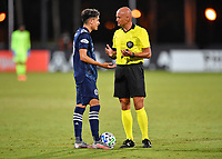 LAKE BUENA VISTA, FL - AUGUST 01: Jesús Medina #19 of New York City FC speaks to referee Robert Sibiga during a game between Portland Timbers and New York City FC at ESPN Wide World of Sports on August 01, 2020 in Lake Buena Vista, Florida.