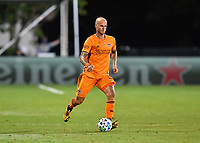 LAKE BUENA VISTA, FL - JULY 18: Aljaz Struna #5 of the Houston Dynamo dribbles the ball during a game between Houston Dynamo and Portland Timbers at ESPN Wide World of Sports on July 18, 2020 in Lake Buena Vista, Florida.