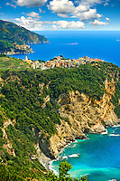 Photo of the hilltop Village of Corniglia, Cinque Terre National Park, Ligurian Coast, Italy