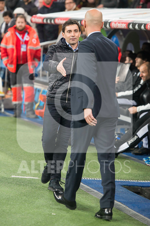 Real Madrid coach Zinedine Zidane and Leganes coach Asier Garitano during King's Cup match between Real Madrid and Legates at Santiago Bernabeu Stadium in Madrid, Spain. January 24, 2018. (ALTERPHOTOS/Borja B.Hojas)
