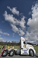 TOCANCIPÁ -COLOMBIA. 14-07-2013. 26° Gran Premio Nacional De Tractomulas realizado hoy en el autodromo de Tocancipá, Colombia. En la imagen el conductor el conductor  número 104, Jaime A Torres en su fase clasificatoria./ 26th  National Trucks Grand Prix at Tocancipa racetrack today in Tocancipa, Colombia. In the image the number 104 pilot, Jaime A Torres in his classification step. Photo: VizzorImage / Str