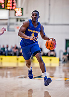 9 February 2019: University at Albany Great Dane Guard Rayshawn Miller, a Senior from Boston, MA, in second-half action against the University of Vermont Catamounts at Patrick Gymnasium in Burlington, Vermont. The Catamounts defeated the Danes 67-49 in their America East matchup. Mandatory Credit: Ed Wolfstein Photo *** RAW (NEF) Image File Available ***