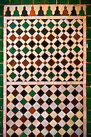 Berber tiles of the  Alaouite Ksar Fida built by Moulay Ismaïl the second ruler of the Moroccan Alaouite dynasty ( reigned 1672–1727 ). Residence of the Khalifa or Caid of Tafilalet until 1965. Tafilalet Oasis, near Rissini, Morocco