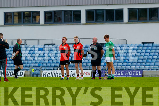 Captains before the Kerry County Minor Hurling Championship Final match between Ballyduff and Ballyheigue at Austin Stack Park in Tralee, Kerry.