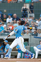 Myrtle Beach Pelicans outfielder Roberto Caro (20) at bat during a game against the Potomac Nationals at Ticketreturn.com Field at Pelicans Ballpark on July 19, 2018 in Myrtle Beach, South Carolina. Potomac defeated Myrtle Beach 6-3. (Robert Gurganus/Four Seam Images)