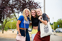 TACOMA, WA - JULY 31: Leah Pruitt #35, Bethany Balcer #24 and Kelcie Hedge #25 of the OL Reign arrive at the stadium before  a game between Racing Louisville FC and OL Reign at Cheney Stadium on July 31, 2021 in Tacoma, Washington.