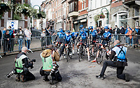 (the in limbo) Team NTT about to be presented to a small crowd at the start in Herve<br /> <br /> 84th La Flèche Wallonne 2020 (1.UWT)<br /> 1 day race from Herve to Mur de Huy (202km/BEL)<br /> <br /> ©kramon