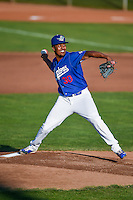 Ogden Raptors starting pitcher Josh Kimborowicz (30) delivers a pitch to the plate against the Grand Junction Rockies in Pioneer League action at Lindquist Field on August 25, 2016 in Ogden, Utah. The Rockies defeated the Raptors 12-3. (Stephen Smith/Four Seam Images)