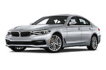 Stock pictures of low aggressive front three quarter view of a 2018 BMW 5 Series Sport 4 Door Sedan