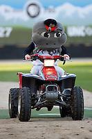 "The Carolina Mudcats mascot ""Muddy"" makes his entrance riding a four wheeler at Five County Stadium May 19, 2009 in Zebulon, North Carolina. (Photo by Brian Westerholt / Four Seam Images)"