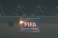 FIFA signage at the USA-England match in the 2010 World Cup. The U.S. and England played to a 1-1 draw in the opening match of Group C play at Rustenburg's Royal Bafokeng Stadium, Saturday, June 12th.