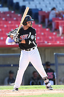 D.J. Peterson #34 of the High Desert Mavericks bats against the Rancho Cucamonga Quakes at Stater Bros. Stadium on May 27, 2014 in Adelanto, California. High Desert defeated Rancho Cucamonga, 5-4. (Larry Goren/Four Seam Images)