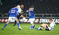 20th March 2021; Liberty Stadium, Swansea, Glamorgan, Wales; English Football League Championship Football, Swansea City versus Cardiff City; Andre Ayew of Swansea City strikes the ball but is blocked by Joe Ralls of Cardiff City