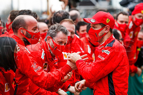 15th November 2020; Istanbul Park, Istanbul, Turkey; FIA Formula One World Championship 2020, Grand Prix of Turkey, Race Day;  Sebastian Vettel GER 5, Scuderia Ferrari with his team in parc ferme as he takes 3rd place