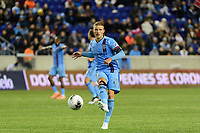 HARRISON, NJ - FEBRUARY 26: Alexander Ring #8 of NYCFC during a game between AD San Carlos and NYCFC at Red Bull on February 26, 2020 in Harrison, New Jersey.