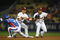 Marco Scutaro and Jose Lopez  of Venezuela during a game against Korea at the World Baseball Classic at Dodger Stadium on March 21, 2009 in Los Angeles, California. (Larry Goren/Four Seam Images)