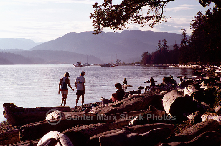 Quadra Island, BC, British Columbia, Canada - People on Beach at Rebecca Spit