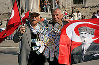 Flag and lottery ticket sellers in Eminonu, Istanbul, Turkey