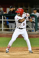 L.J. Kalawaia (5) of the Orem Owlz at bat against the Billings Mustangs in Game 2 of the Pioneer League Championship at Home of the Owlz on September 16, 2016 in Orem, Utah. Orem defeated Billings 3-2 and are the 2016 Pioneer League Champions.(Stephen Smith/Four Seam Images)