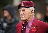 Pictured: A veteran observes the two minutes silence. Saturday 11 November 2017<br />