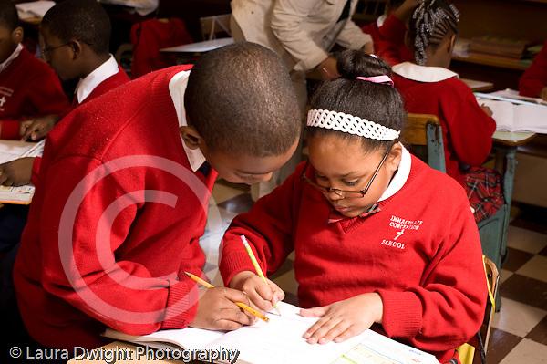 K-8 Parochial School Bronx New York Grade 3 mathematics lesson on measurement using rulers horizontal