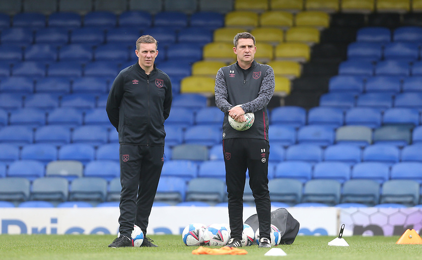 West Ham United's U21 head coach Dmitri Halajko (right)<br /> <br /> Photographer Rob Newell/CameraSport<br /> <br /> EFL Trophy Southern Section Group A - Southend United v West Ham United U21 - Tuesday 8th September 2020 - Roots Hall - Southend-on-Sea<br />  <br /> World Copyright © 2020 CameraSport. All rights reserved. 43 Linden Ave. Countesthorpe. Leicester. England. LE8 5PG - Tel: +44 (0) 116 277 4147 - admin@camerasport.com - www.camerasport.com