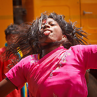 Girls dance falling in trance in India