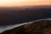 Sunset over Lake Rotoroa, Nelson Lake National Park, South Island, New Zealand, NZ