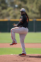 San Francisco Giants starting pitcher Johnny Cueto (47) prepares to deliver a pitch to the plate during a rehab assignment in a Minor League Spring Training game against the Cleveland Indians at the San Francisco Giants Training Complex on March 14, 2018 in Scottsdale, Arizona. (Zachary Lucy/Four Seam Images)