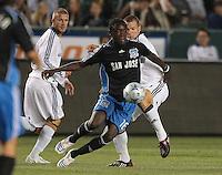 Kei Kamara gets passes LA's Greg Vanney, .Jose Earthquakes, 0, Los Angeles Galaxy, 2, Thursday, April 3, 2008.
