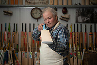 BNPS.co.uk (01202) 558833<br /> Pic: ZacharyCulpin/BNPS<br /> <br /> <br /> <br /> Master bat maker Tim Keeley is putting the finishing touches to his beautifully hand-crafted pieces of willow ahead of the forthcoming cricket season.<br /> <br /> Tim, 62, has made almost half a million bats since starting out as an apprentice at Gray Nicholls aged 16 in 1975.<br /> <br /> He is the founder of family business Keeley Cricket, in Battle, East Sussex, which he runs with his brother Nick who has 35 years of bat-making experience.