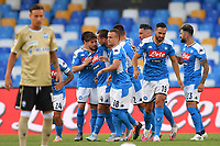 Dries Mertens of SSC Napoli celebrates with team mates after scoring the goal of 1-0 during the Serie A football match between SSC  Napoli and SPAL at stadio San Paolo in Naples ( Italy ), June 28th, 2020. Play resumes behind closed doors following the outbreak of the coronavirus disease. <br /> Photo Carmelo Imbesi / Insidefoto
