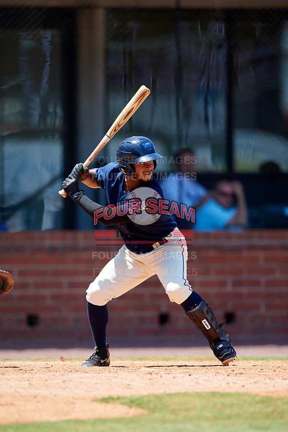 Mobile BayBears shortstop Alberto Triunfel (2) at bat during a game against the Pensacola Blue Wahoos on April 26, 2017 at Hank Aaron Stadium in Mobile, Alabama.  Pensacola defeated Mobile 5-3.  (Mike Janes/Four Seam Images)