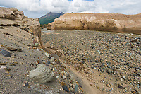 Ukak River, Valley of 10,000 smokes, Katmai National Park, Alaska. Ash landscape from the 1912 Novarupta volcano eruption.