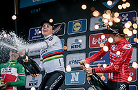 podium with race winner Annemiek Van Vleuten (NED/Mitchelton Scott) and 3th place finisher Floortje Mackaij (NED/Sunweb) and 2nd place finisher Marta Bastianelli (ITA/Ale BTC Ljubljana)<br /> <br /> 12th Women's Omloop Het Nieuwsblad 2020 (BEL)<br /> Women's Elite Race <br /> Gent – Ninove: 123km<br /> <br /> ©kramon