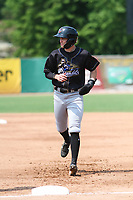 Quad Cities River Bandits shortstop Nick Loftin (2) jogs back to first base during a game against the Beloit Snappers on July 18, 2021 at Pohlman Field in Beloit, Wisconsin.  (Brad Krause/Four Seam Images)