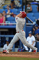 Clearwater Threshers outfielder Aaron Brown (33) at bat during a game against the Dunedin Blue Jays on April 10, 2015 at Florida Auto Exchange Stadium in Dunedin, Florida.  Clearwater defeated Dunedin 2-0.  (Mike Janes/Four Seam Images)