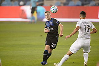 SAN JOSE, CA - SEPTEMBER 13: Tommy Thompson #22 of the San Jose Earthquakes plays the ball during a game between Los Angeles Galaxy and San Jose Earthquakes at Earthquakes Stadium on September 13, 2020 in San Jose, California.