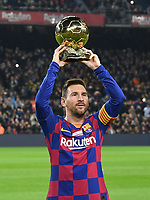 Lionel Messi con il pallone d'oro <br /> 07/12/2019 <br /> Barcelona - Maiorca<br /> Calcio La Liga 2019/2020 <br /> Photo Paco Largo Panoramic/insidefoto <br /> ITALY ONLY