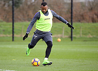 Jordan Ayew takes a cross during the Swansea City Training at The Fairwood Training Ground, Swansea, Wales, UK. Wednesday 01 March 2017