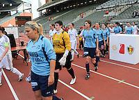 15 Mei 2010 Bekerfinale vrouwen : Sinaai Girls - RSC Anderlecht  : Katrien Van Rooy , Anke Langeraert en Katrijn Windey.foto DAVID CATRY / Vrouwenteam.be