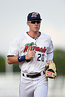 Fort Myers Miracle outfielder Max Kepler (20) jogs into the dugout during a game against the St. Lucie Mets on April 19, 2015 at Hammond Stadium in Fort Myers, Florida.  Fort Myers defeated St. Lucie 3-2 in eleven innings.  (Mike Janes/Four Seam Images)